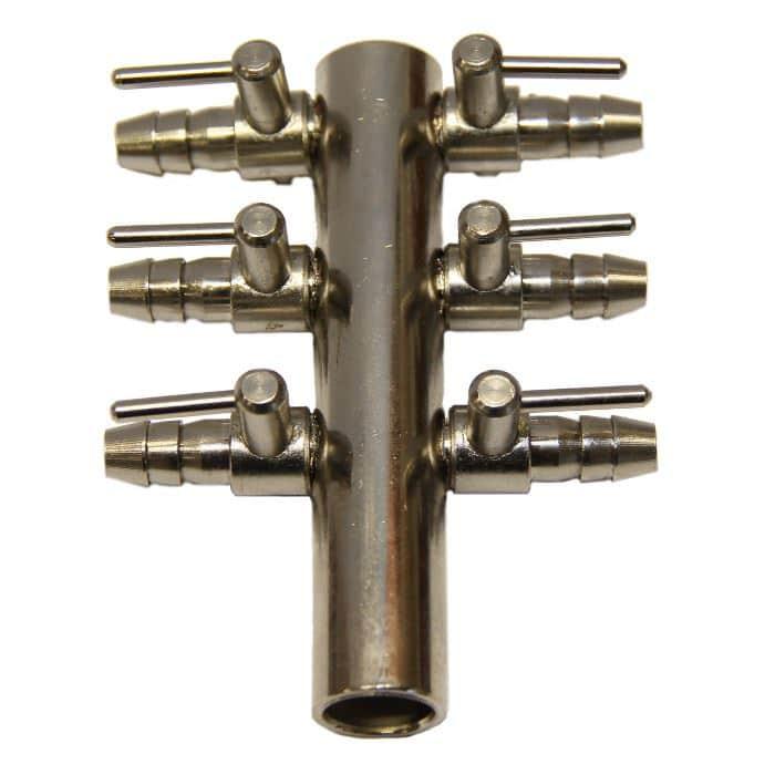 Luftfördelare 6-vägskran, 9 mm