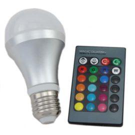 RGB lampa LED E27 med fjärrkontroll